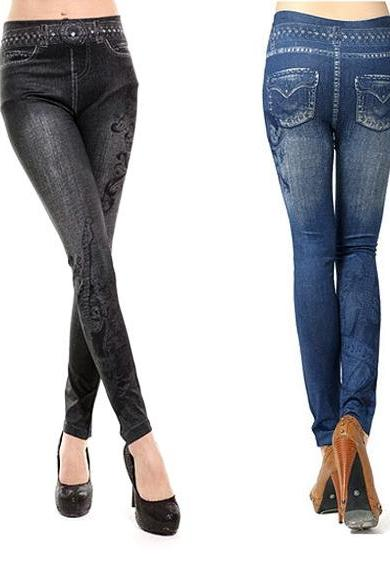 Women's musical note Pattern Ladies Casual Tights Stretch Skinny Pants Jean Legging
