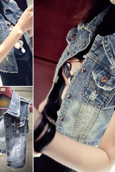 New Women Fashion Short Vintage Style Waistcoat Coat Casual Outerwear Jean Vest