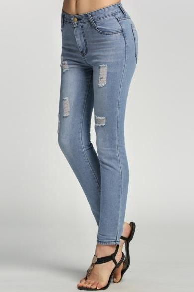 Light-Washed High Waisted Distressed Skinny Jeans