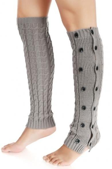Zeogoo Women Knit Crochet Double Button Long Leg Warmers Knee High Boot Socks