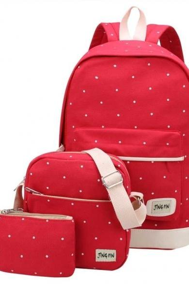 New Fashion Backpack Girl Shoulder Bag Rucksack Canvas 3 Bags In 1 Set