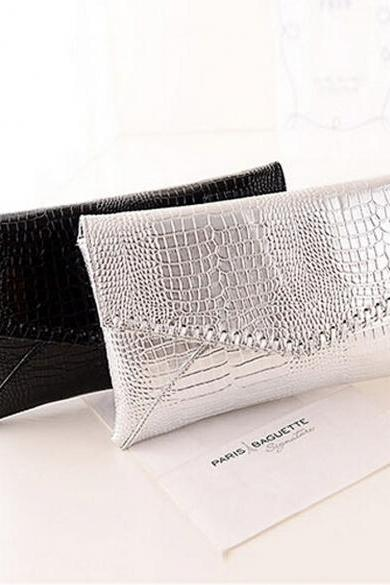 New Women Ladies Synthetic Leather Clutch Bag Glossy Patent Leather Party OL Envelope Bag