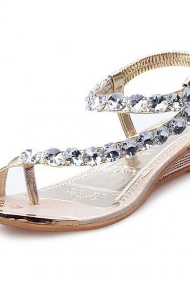 New Fashion Women Summer Flip Flop Beach Casual Rhinestone Shoes Toe Sandals
