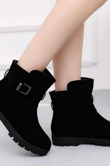 Suede Fashion Belt Buckle Short Canister Boots