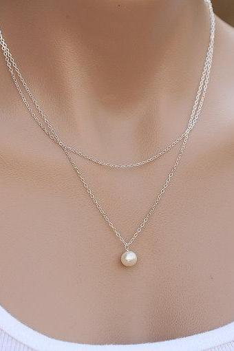 Contracted Double Layers Pearl Necklace