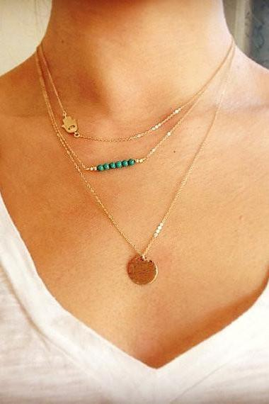 Retro Hand Sequins Multilayer Necklace