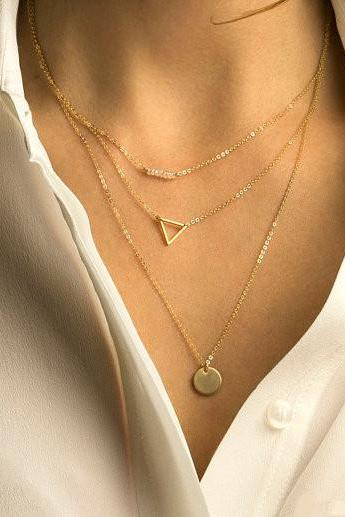 Crystal Beads Hollow Out Triangle Sequins Necklace