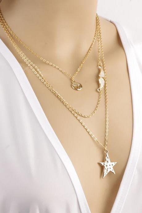 Multielement Stars Angel Wings Saplings Multilayer Necklace