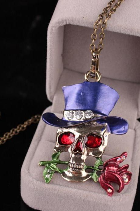 Halloween Skeleton head exaggerated Necklace