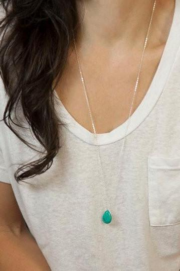 Simple Water Droplets Sweater Chain Long Necklace