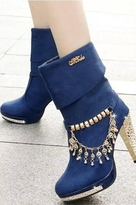High Heeled Pure Color Metal Tassel Boots