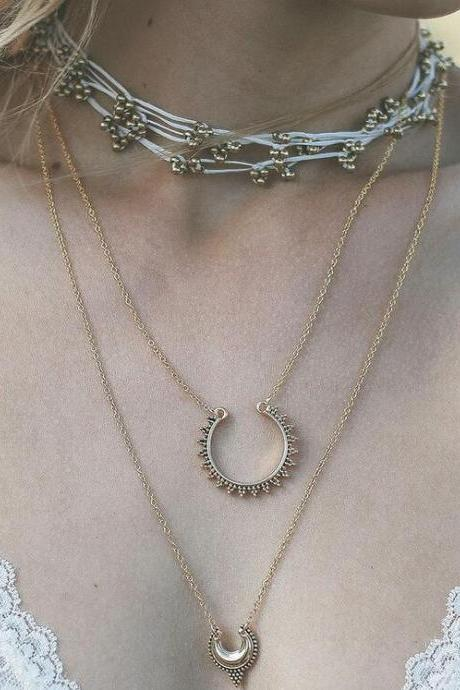 Street Snap Carving Crescent Moon Double Necklace