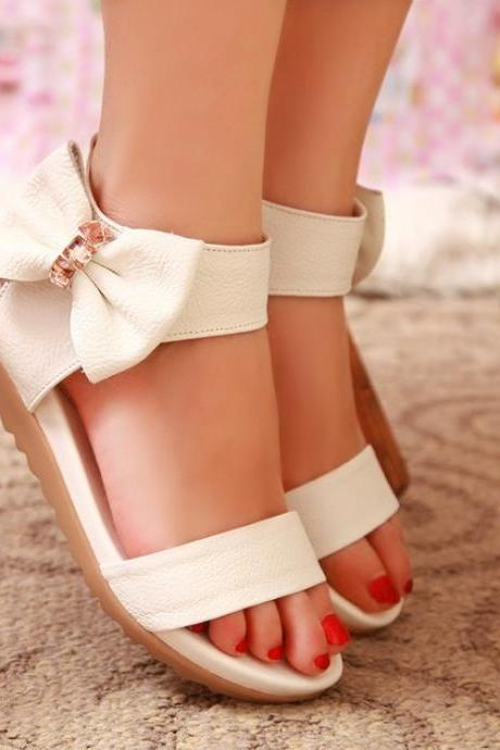 Sweet Bowknot Leather Simple Flat Sandals