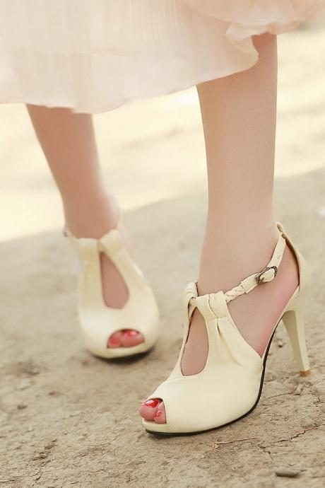 Sexy Ankle Strap Nude Peep Toe Sandals