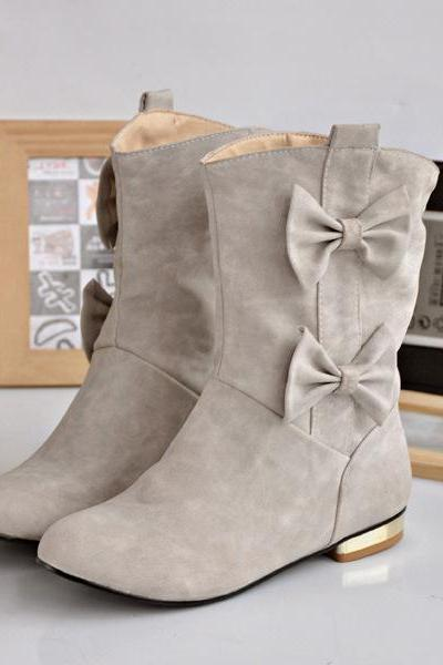 Double Bow Slip-On Ankle Boots