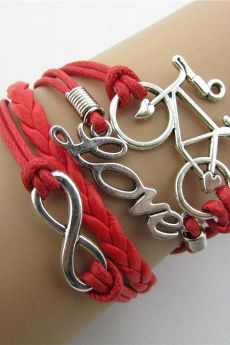 LOVE Bike Hand-made Leather Cord Bracelet