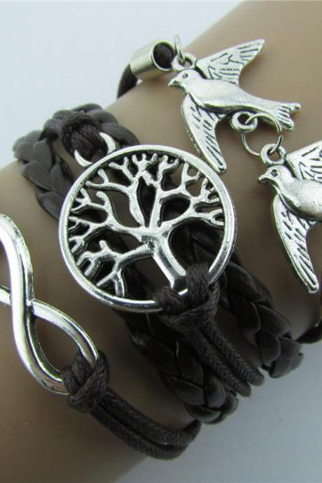 Endless LOVE Bird Dove Leather Bracelet