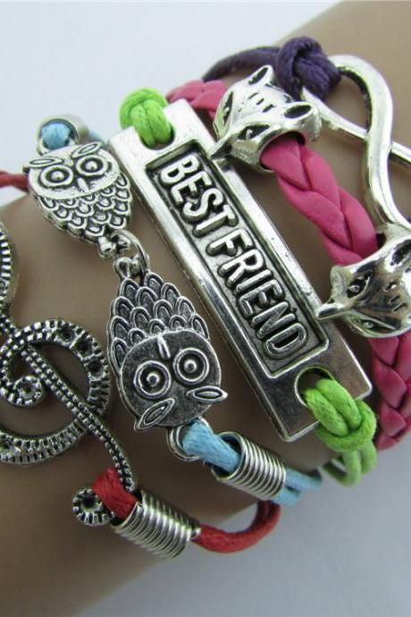 Music Operator Owl Fox Color Rope Bracelet