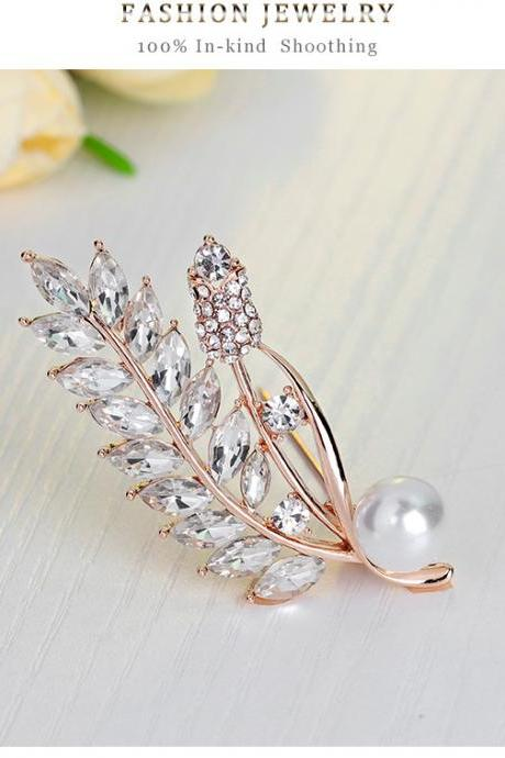 High-grade lady pearl diamond leaves Brooch