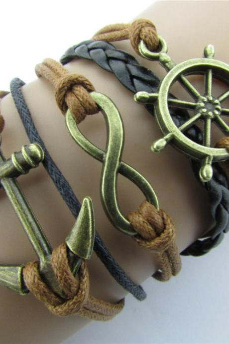Anchor Rudder Eight Wax String Bracelet