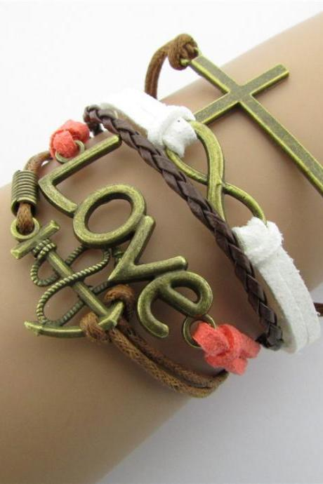 Anchor Cross LOVE Eight Fashionable Hand-made Bracelet