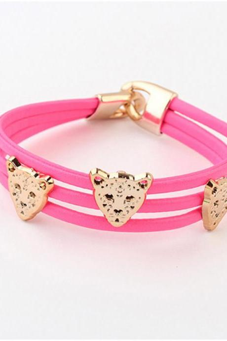 Candy Color Joker Leopards Head Bracelet