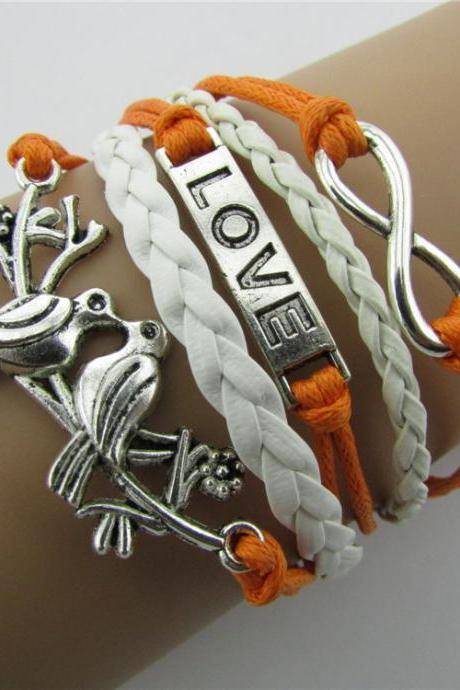 LOVE Birds Multiple Leather Cord Bracelet
