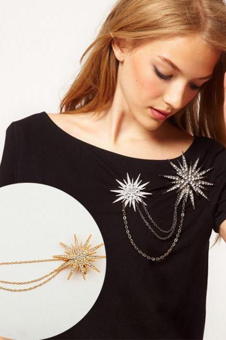 Exaggerated Star Tassel Chain Brooch