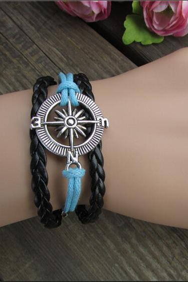 Retro Compass Fashionable Hand-Made Leather Cord Bracelet