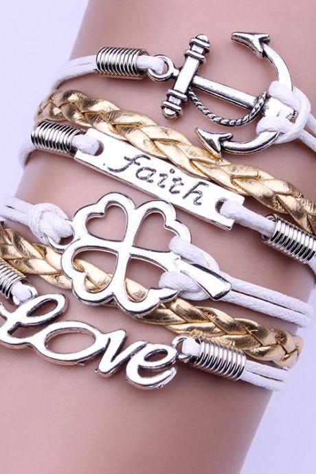 Love Lucky Clover Anchor Bracelet