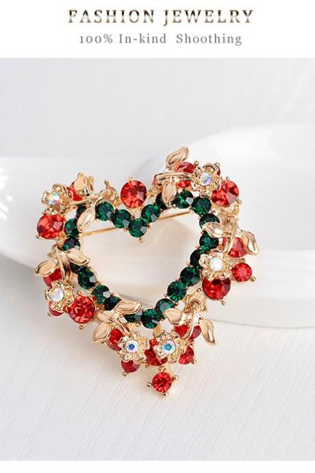 Sales of high-grade heart-shaped wreath Brooch