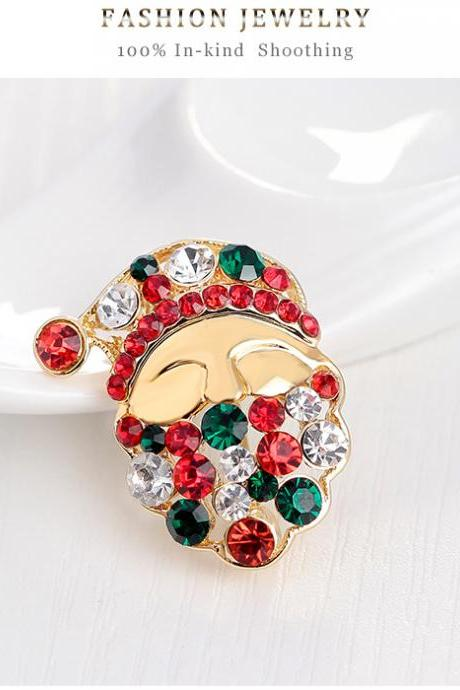 KC Gold Diamond high-grade Santa Brooch
