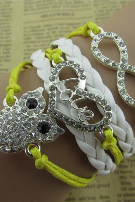 Fashion Owl Hearts LOVE 8 Bracelet