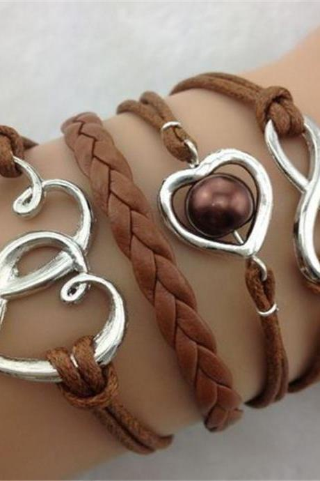 Romantic Heart To Heart Leather Cord Bracelet
