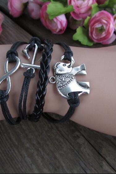 Retro Elephants Hand-made Anchor Bracelet