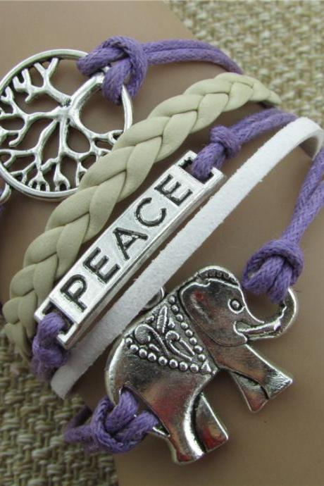 Tree of life Elephant Multilayer Woven Bracelet