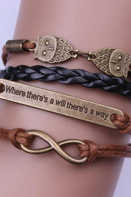 Motivational Owl Woven Bracelet