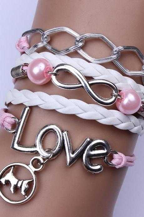 Cute Puppy Pearl Love Woven Bracelet