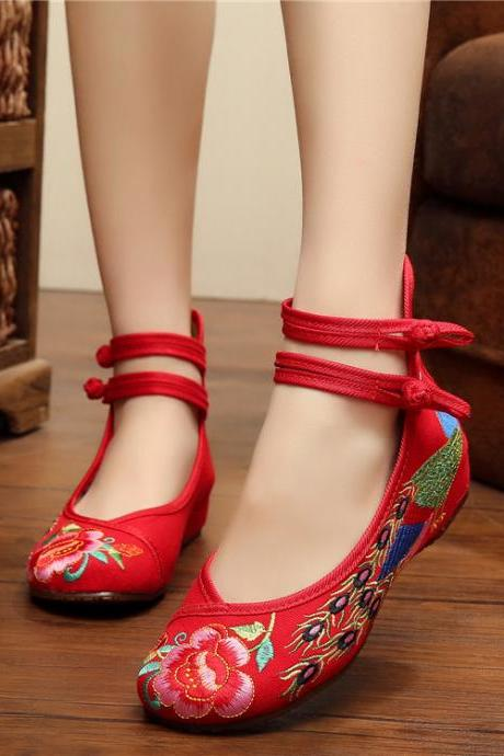 National Style Embroidered Ankle Strap Heel Shoes