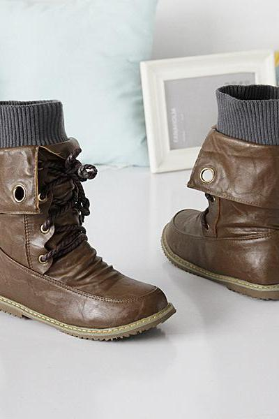Rough Style Retro Wrinkle Lace Up Boots
