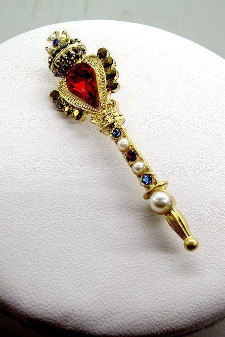 Baroque red crown wand Brooch