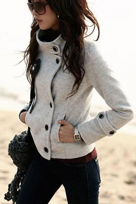 High Neck Long Sleeves Slim Wool Thick Coat