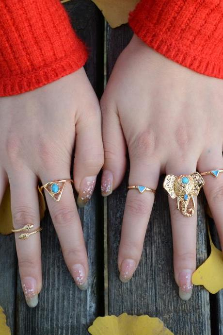Exaggerate Elephant Snake Multi Combination Rings