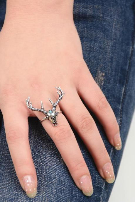 Fashion National Style Deer Head Ring