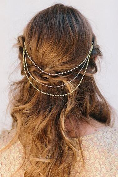 Luxury Bride Crystal Pearl Beads Tassel Chain Multilayer Manual Hair Clips