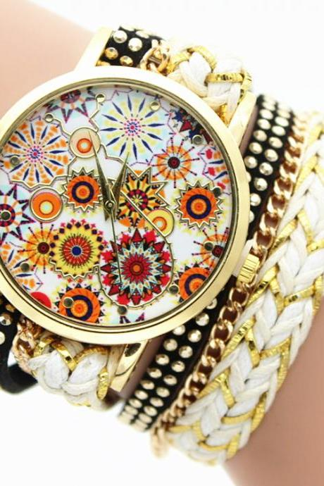Artistic Flower Print Woven Watch