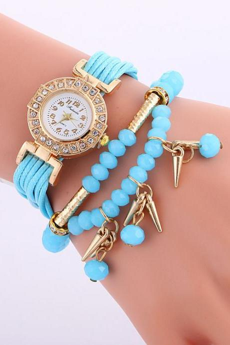 Classic Small Dial Beads String Watch
