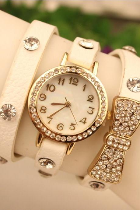 Crystal Butterfly Leather Quartz Watch