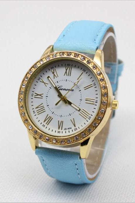 Crystal Roman Number Leather Watch