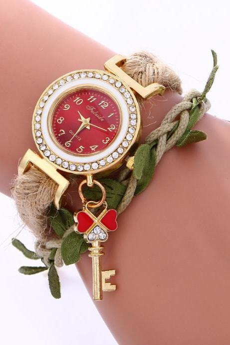 Leaves Key Pendant Woven Watch